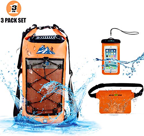 Waterproof Dry Bag,with Phone case and Waist Bag- Roll Top Dry Compression Sack Military Grade Construction for Kayaking, Fishing, Boating, Hiking,Storage for Camera & Camping Accessories orange 20L