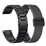 Compatible Amazfit Bip Band Set, 2 Pack Stainless Steel + Mesh Strap Bracelet Replacement for Huami Amazfit Bip, Amazfit Bip lite, Amazfit GTS, Black