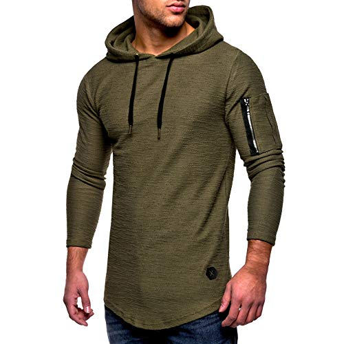 MRULIC Herren Kapuzenpullover Mittlere Saison Tops Oberbekleidung Pulli Warme Pullover Streetwear RH-012(Armeegrün,EU-46/CN-L)