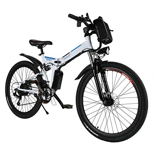 Speedrid 26'' Electric Folding Bikes for Adults Electric Bike E-bike Electric Mountain Bike with 36V 8Ah Lithium Battery, Double Shock Absorption, Font and Rear Disc Brakes, e bike for Man.