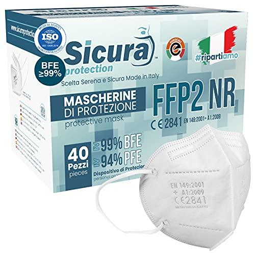 40 Mascherine FFP2 Certificate CE Made in Italy Bianche e...