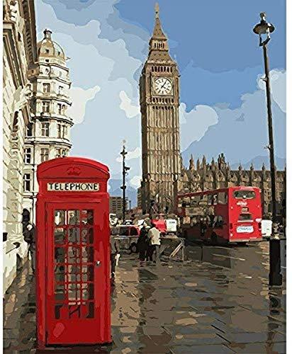 Pintar por números Big Ben y cabina telefónica para adultos Niños con pincel Festival Regalo 40X50CM-With Frame