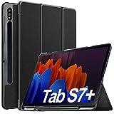 IVSO Funda para Samsung Galaxy Tab S7+/Tab S7 Plus, para Samsung Galaxy Tab S7+ 12.4 Funda, Funda Case para Samsung Galaxy Tab S7+ (SM-T970/975/976) 12.4 2020, Negro