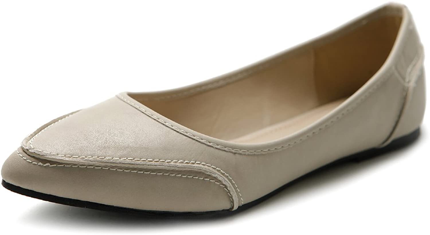 Ollio Women's shoes Ballet Pointed Toe Pastel Low Flat