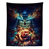 Boyouth Tapestry Wall Hanging,Psychedelic Colorful Owl Under Moonlight Picture Digital Print Wall Tapestry Art Home Decorations for Living Room Bedroom Dorm,59.1' Wide By 51.2' High