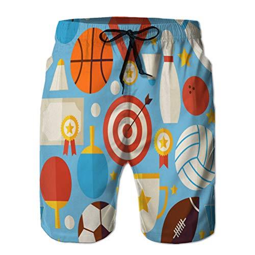 Yuerb Funny Beach Board Shorts für Männer Casual Pants Sportwettbewerb Erholung flach blau nahtlos