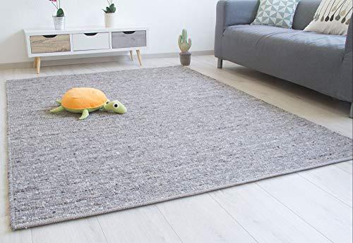 Steffensmeier Handweb Teppich Laufenburg | Wolle (Schurwolle), Grau, handgewebt, Größe: 140x200 cm Wohnzimmer und Schlafzimmer