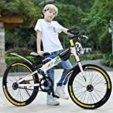 2021 New Kids Mountain Bike, 20 Inch 21-Speed BMX Style Frame Children's Bicycle Bike with Water Bottle Bag White