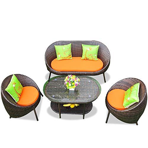 MKMKT Sala de Estar Muebles de ratán Ocio Sofá combinación Patio Exterior Rattan Rattan Silla Conjunto de Mesa + 3 sillas