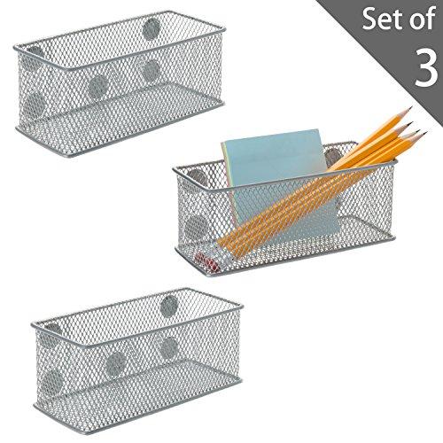 Metallgeflecht, magnetisch, Aufbewahrungsregal, Büromaterial, Organizer-Körbe, silberfarben, 3 Stück