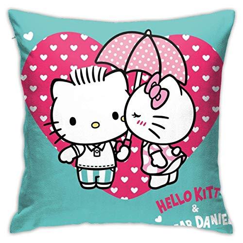 AEMAPE Funda de Almohada Hello Kitty y Dear Daniel Throw Pillow Covers Funda de cojín para sofá de casa 45X45CM