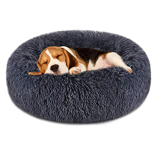 FOCUSPET Dog Bed Cat Bed Donut, Pet Bed Faux Fur Cuddler Round Comfortable for Small Medium Large Dogs Ultra Soft Calming Bed Self Warming Indoor Sleeping Bed Multiple Sizes (20
