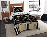 New Orleans Saints Twin Comforter & Sheets, 4 Piece NFL Bedding, New