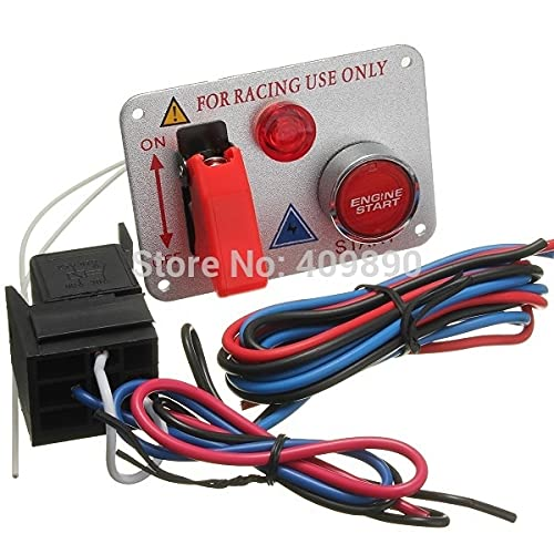 ndliulei 100 unids/Lote 12V Coche abatible Gnition Push Rojo Motor botón de Arranque Interruptor de Palanca