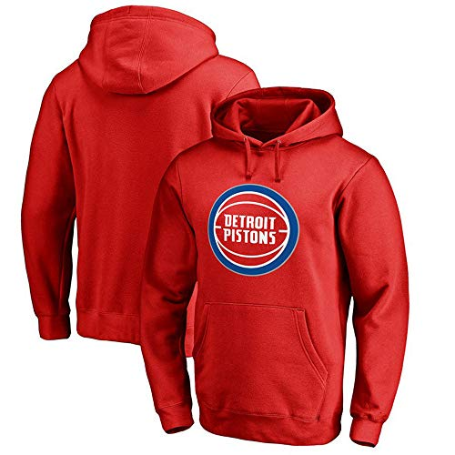 Sudadera para Hombre Fans de la NBA Jersey Detroit Pistons Sudadera con Capucha y Manga Larga con cordón Casual Cómodo Jersey S-XXXL Rojo, XXL