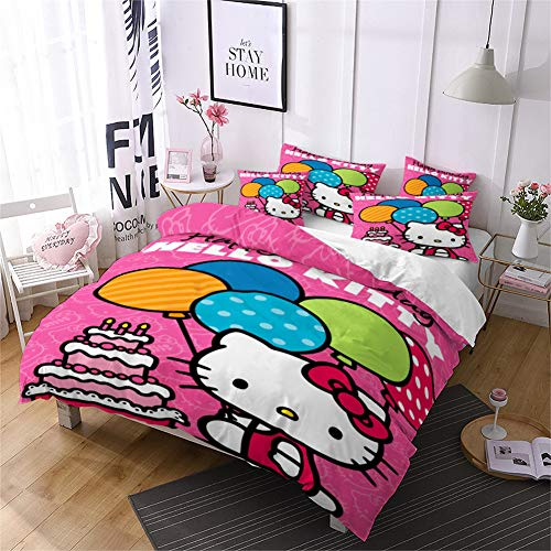 Kids Duvet Cove Hello Kitty Printed Comforter Cover Quilt Cover and Pillowcase Bedding Set Bedroom Decoration for Boys Girls Teens (A-11, King 220 * 230 cm)