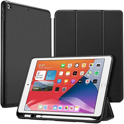 ESR Hülle für iPad 10.2 mit Stifthalter, für iPad 8.Generation 2020/iPad 7.Generation 2019, mit Pencil Halter [Trifold Ansichtsständer] [Auto Schlaf-/Weckabdeckung] Rebo& Series-Schwarz