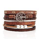 Lovans Leder Wickelarmband Multi Rope Handmade Alloy Bangle Magnetverschluss Armband Perlen für Frauen Geschenke Unisex