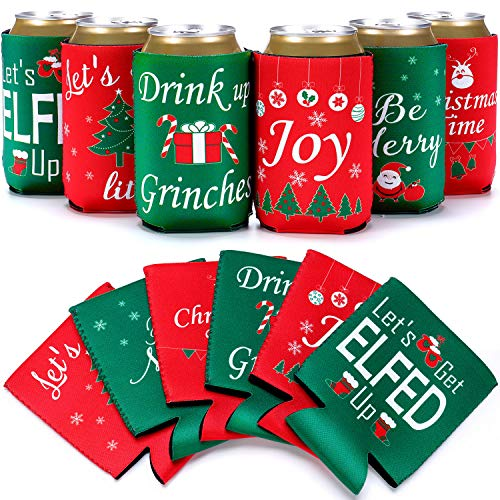12 Pieces Christmas Can Cooler Sleeves 6 Styles Christmas Theme Tree Snowman Hat Reindeer Funny Neoprene Holiday Beer Can Cover Holders for Soda Bottle Drink Xmas Party Supplies Favors