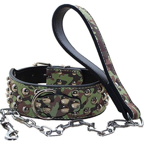haoyueer Hundehalsband, 5,1 cm breit, mit Nieten, inkl. Hundeleine, strapazierfähig, passend für große Rassen, Pit Bull Husky Mastiff Terrier (Camouflge, S)