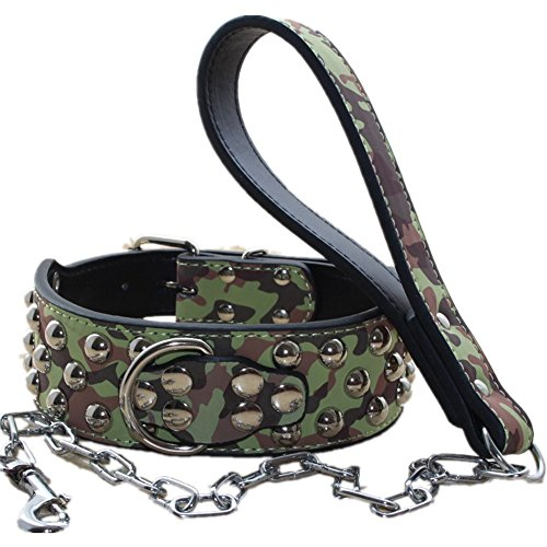 haoyueer 5,1cm Breit Leder Nieten Hundehalsband + Hund Kette Leine Set Heavy Duty Passform Große Rassen Pit Bull Husky Mastiff Terrier, M, Camouflage