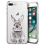 Slim Clear Grey Bunny Case for iPhone 7 Plus 8 Plus Customized Design Soft TPU and Rubber Flexible Durable Shockproof iPhone 7 Plus 8 Plus Protective Case-Anti-Slippery