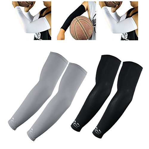 Scorpion 2 Pairs, Child Kids Boys Girls Youth Anti-Slip Arm Sleeves Cover Skin UV Protection Sports Stretch Basketball Running Cycling, Gray, Black