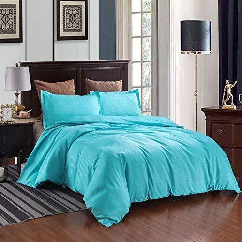 WFBZ Hotel Satin Stripe Duvet Cover and Pillowcase Bedding Set Bedding Set Single Color 3 Piece Quilt Cover, blue, 260 x 230 cm