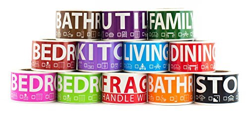 600 Home Moving Labels for 3 Bedroom House. 50 labels per room, 12 Color Coded Label Rolls. FRAGILE label included. For Moving boxes, Moving Supplies, Wardrobe Boxes, Apartment sticker