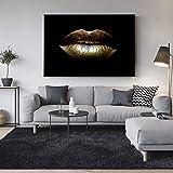 SQSHBBC Sexy Goldene Lippen Leinwand Gemälde Moderne Schwarzweiß Wandkunst Leinwand Beauty Pop Art Abstrakte Wandbilder Wohnkultur A 20x30 cm ungerahmt