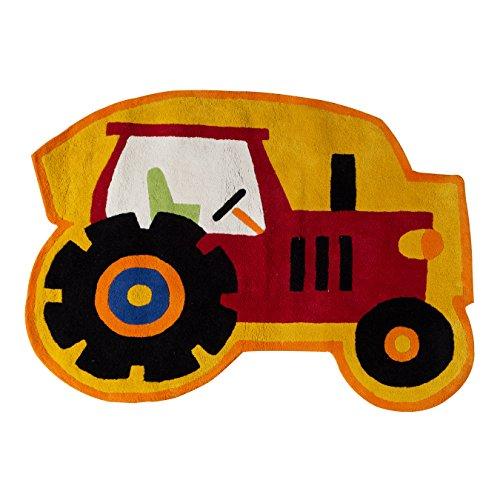 Premier Housewares–Kids Alfombra de Tractor, algodón, Rojo