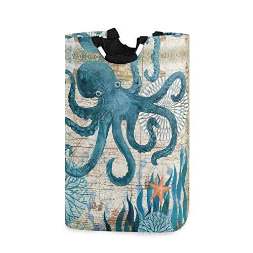 Kcldeci Kraken Octopus Laundry Basket Starfish Sea Coral Laundry Hamper Bucket Washing Bin Dirty Clothes Storage Toys Organizer with Handlesfor Bathroom Bedroom Closet 50L