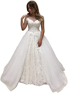 Jonlyc Women's Cap Sleeve Lace Appliques Tulle Ball Gowns Wedding Dresses with Keyhole Back