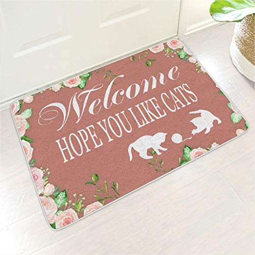 BTJC88 Welcome Mat Hope You Like Cats Rectangular Floor Mats Non-Slip Design Outdoor&Indoor Garage use - Funny Pets Lover for Home Decor white 24x35 inch