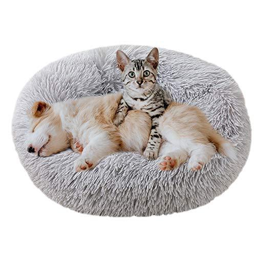 Eastlion Cama Perro Deluxe Felpa Redonda,Plush Cama Calmante Donut Gato Suave Cómoda,Nido Calentito Cojín Lavable para Mascotas Pequeña Gatos y Perros(Gris Claro-Diámetro:60 CM)