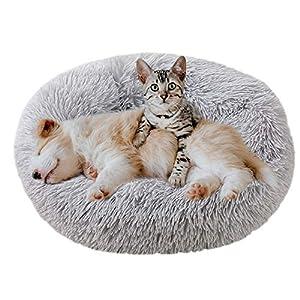 Eastlion Cama Perro Deluxe Felpa Redonda,Plush Cama Calmante Donut Gato Suave Cómoda,Nido Calentito Cojín Lavable para Mascotas Pequeña Gatos y Perros(Gris Claro-Diámetro:80 CM)