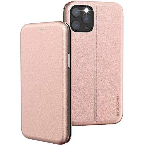 BYONDCASE iPhone 12 & 12 Pro Handytasche Rosa [Premium iPhone 12 PU Leder Flip-Case Klapphülle] mit Kartenfach, Magnetverschluss, Standfunktion und Wireless Charging fürs Apple iPhone 12 & 12 Pro