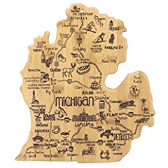 Celebrate life in The Great Lakes State with this beautiful bamboo cutting board in the recognizable shape of the Michigan mitten with permanent, laser-engraved artwork Fun, whimsical laser-engraved artwork calls out all the wonderful sights and plac...