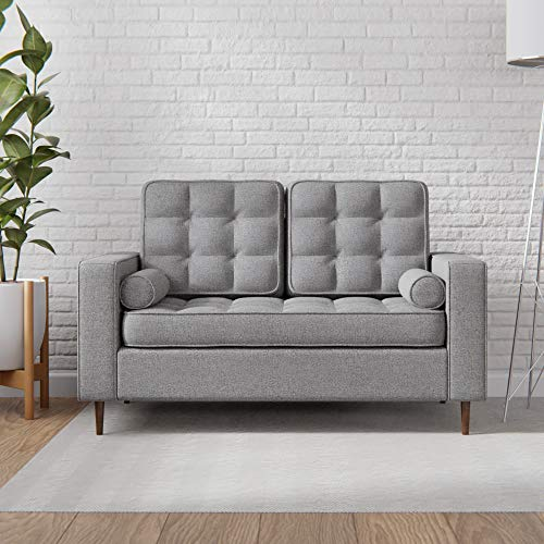 Everlane Home Lynnwood Upholstered Loveseat with Square Arms and Tufting-Bolster Throw Pillows Included, Light Grey