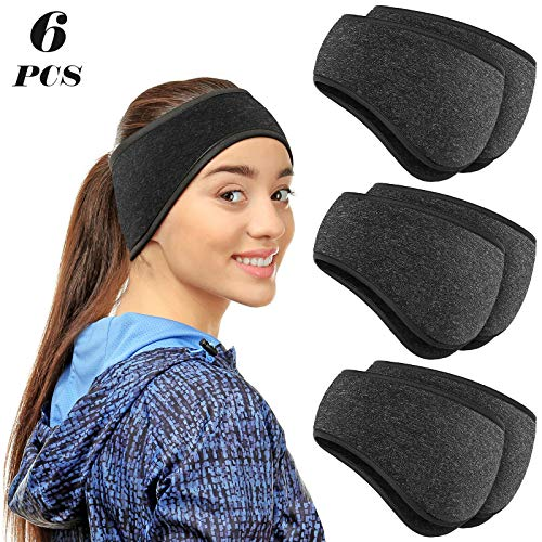 6 Pieces Ear Warmer Headbands Winter Ear Muffs Headband Sports Full Cover Headbands for Outdoor Activities Sports Fitness (Melang Black)