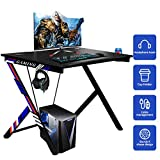 YODOLLA Gaming Desk 43.5' Gaming Table Home Computer Desk with Cup Holder and Headphone Hook Gamer Workstation Game Table