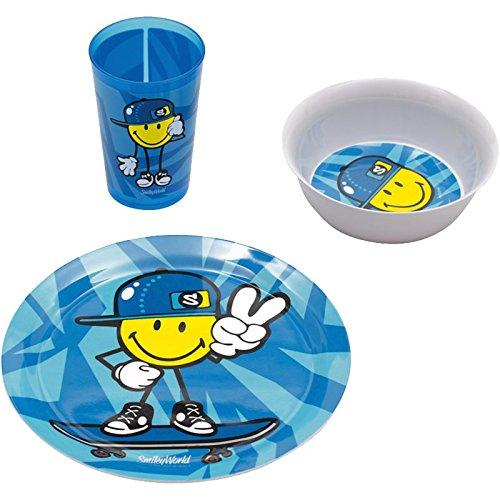 Kid Zakdesigns 6705-0391 Vajilla Infantil de melamina, diseño de Smiley, Color Azul, 45 x 35 x 25 cm, Juego de 3