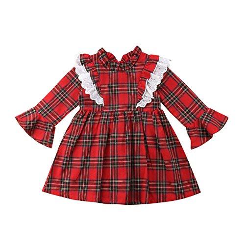Carolilly Vestiti Sorella Grande e Piccola Natale Neonata Bambina Pagliaccetto in Pizzo Abito Principessa a Quadri Rosso da Sorelle