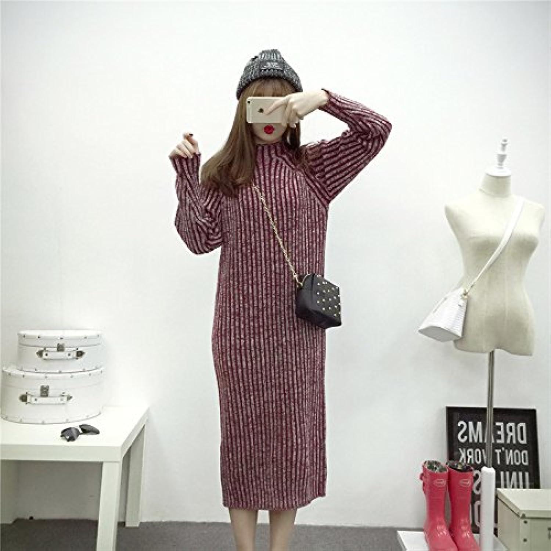 HY-Sweater Pullover koreanischen halbhohen gemischten gestreiften gestreiften Damen Kleid Lange Ärmel Plus Langen Absatz lose Art, weinrot, alle Code B0774X77HZ  Vielfalt