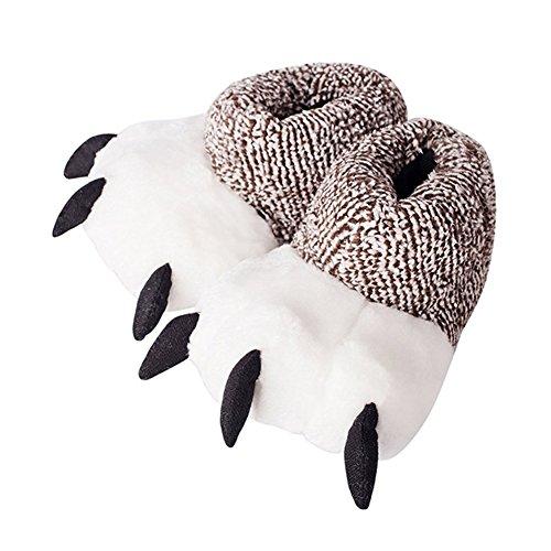 Minetom Herren Damen Winter Baumwolle Pantoffeln Cartoon Tierhausschuhe Plüsch Hausschuhe Weicher Bären Tatzen Anti Rutsch Slippers C Grau EU 44 45