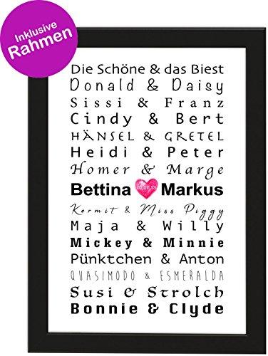 PICSonPAPER Personalisiertes Poster zur Hochzeit DIN A4 Berühmte Paare, gerahmt mit schwarzem Bilderrahmen, Hochzeitsgeschenk, Poster mit Rahmen, Personalisierbare Poster (Poster mit Rahmen)