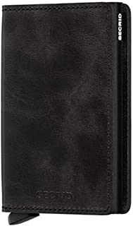 Secrid Men SLIM Wallet Genuine Leather Vintage Black RFID Card Case Max 12 Cards