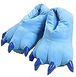 YELAN Zapatillas de casa de Felpa Suave Unisex Animal Disfraz de Pata de Garra (L (40-44 / EUR), Blue)