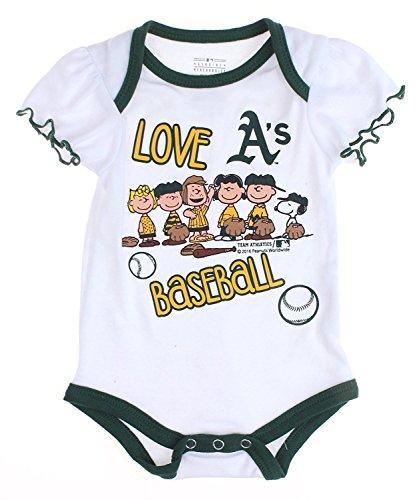 Outerstuff MLB Oakland A's Athletics Baby Girls Infants Peanuts Love Baseball Creeper, W.