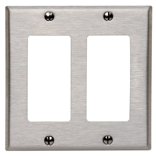 Leviton 84409-40 2-Decora/Gfci Standard Size Wall Plate, 2 Gang, 4.5 in L X 4.56 in W 0.19 in T, Brushed, 1-Pack, Stainless Steel